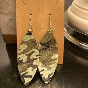 Camouflage leather earrings